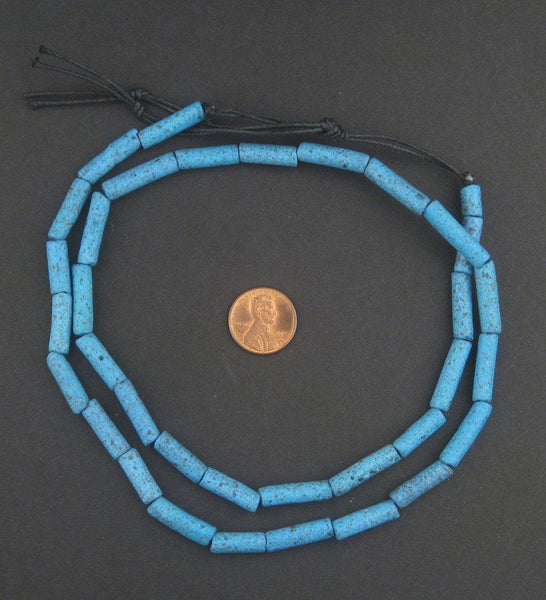 Turquoise Moroccan Pottery Beads (Cylinder)