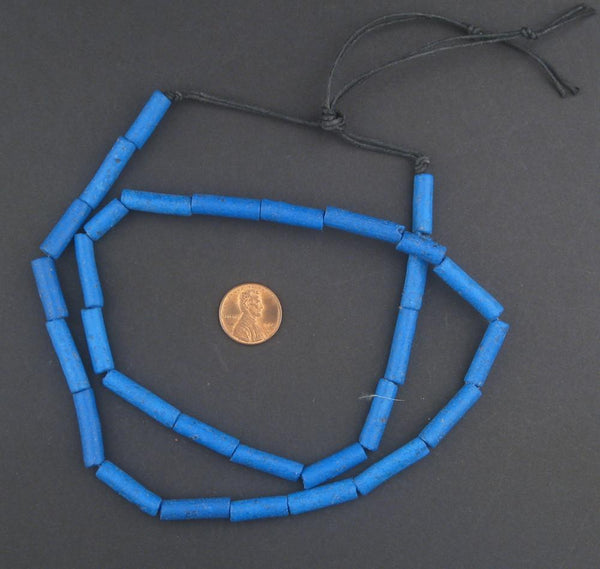 Deep Blue Moroccan Pottery Beads (Cylinder)