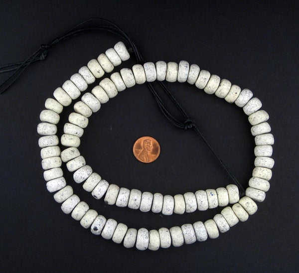 White Moroccan Pottery Beads (Rondelle)