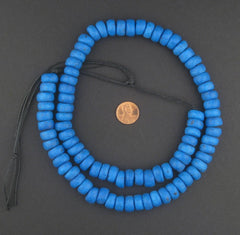 Deep Blue Moroccan Pottery Beads (Rondelle - 14mm)