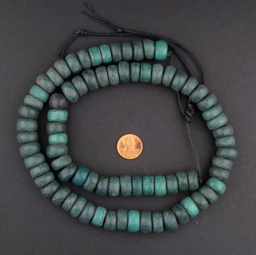 Serpentine Green Moroccan Pottery Beads (Rondelle) - The Bead Chest