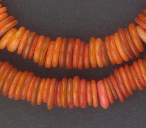 Saffron Red Moroccan Heishi Shell Beads - The Bead Chest
