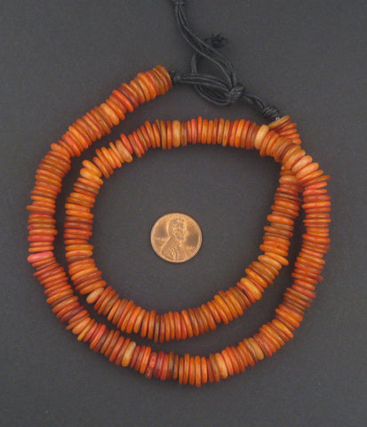 Image of Saffron Red Moroccan Heishi Shell Beads - The Bead Chest