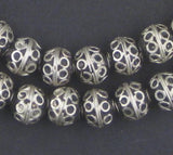 Fancy Berber Silver Bicone Beads (8x10mm)