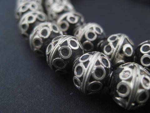 Fancy Berber Silver Bicone Beads (8x10mm) - The Bead Chest