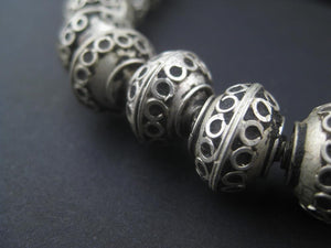 Fancy Berber Silver Bicone Beads (10x15mm) - The Bead Chest