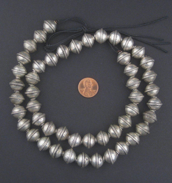 Berber Silver Bicone Beads (12x14mm)