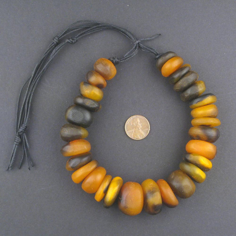 Apricot Swirl Moroccan Horn Beads - The Bead Chest