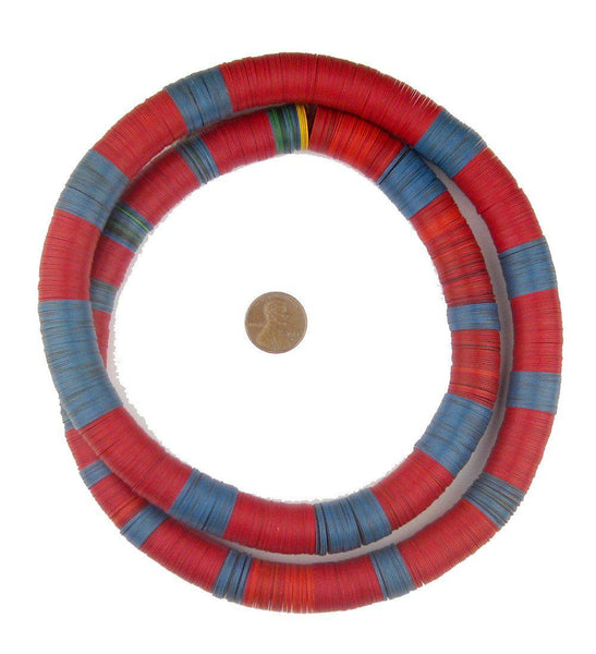 Vintage Blue & Red Vinyl Phono Record Beads (15mm)