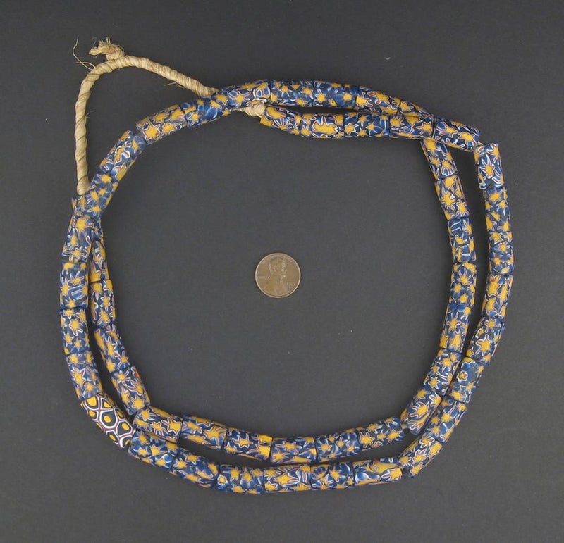 Yellow Blue Star Antique Venetian Millefiori African Trade Beads (Long Strand) - The Bead Chest