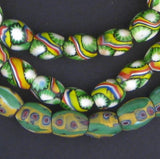 Unusual Oval Antique Venetian Millefiori African Trade Beads (Long Strand)