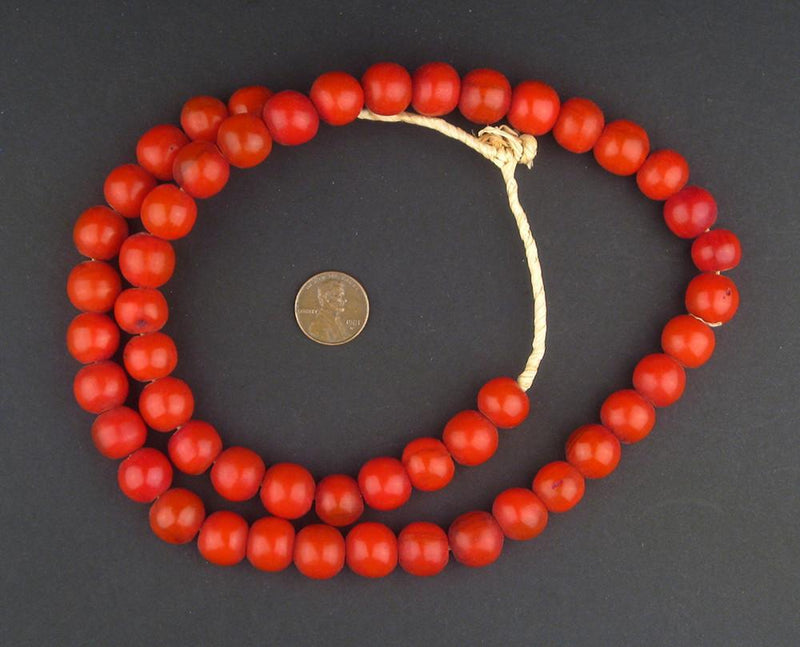 Persimmon Round Amber Resin Beads - The Bead Chest