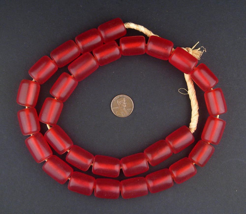 Cherry Amber Resin Cylinder Beads - The Bead Chest