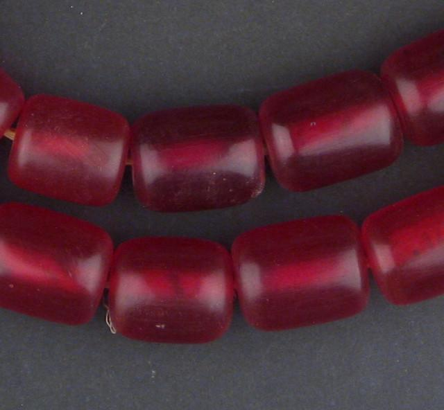 Plum Red Amber Resin Cylinder Beads - The Bead Chest