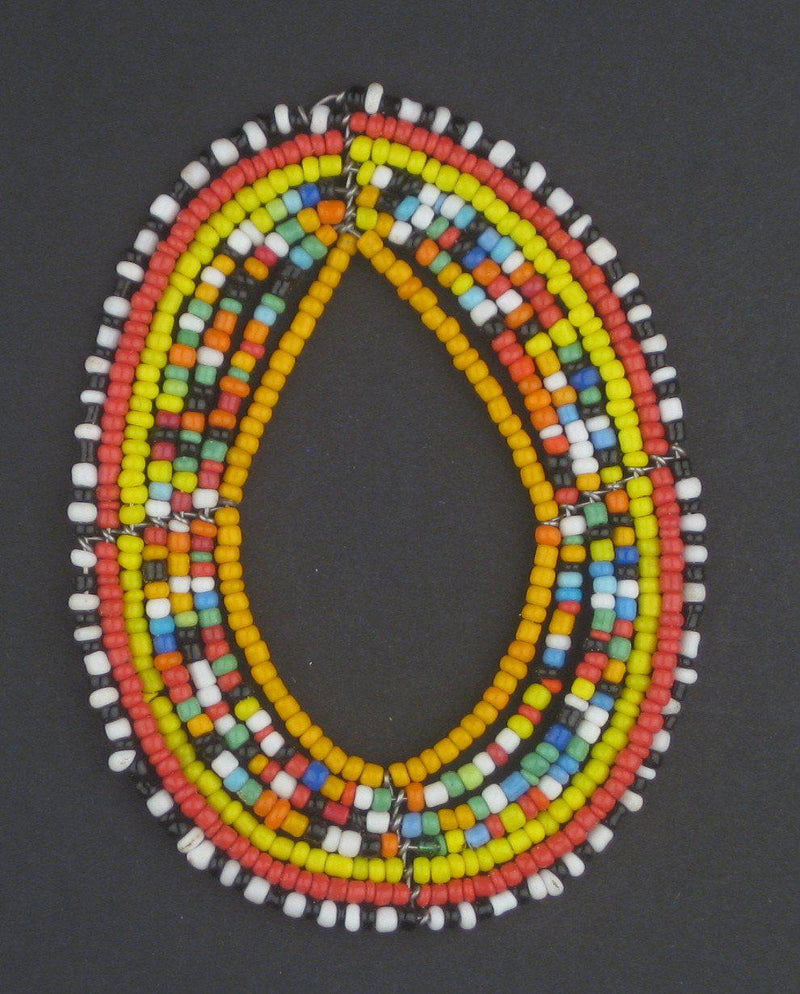 Rainbow Oval Maasai Beaded Pendant - The Bead Chest