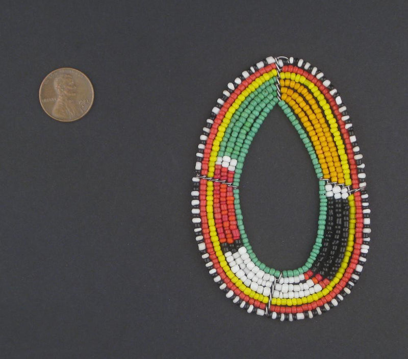Kenya Stripe Maasai Beaded Pendant - The Bead Chest