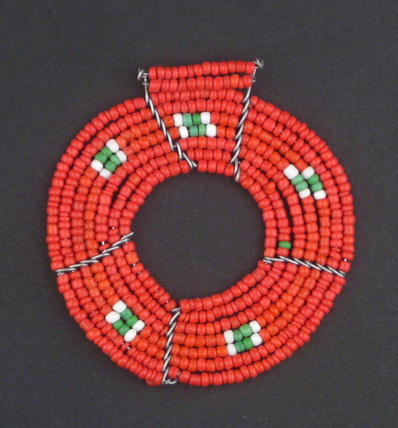 Red Annular Maasai Beaded Pendant - The Bead Chest
