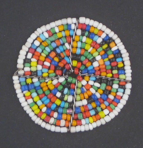Hot Deal: White Rainbow Sun Maasai Beaded Pendant - The Bead Chest