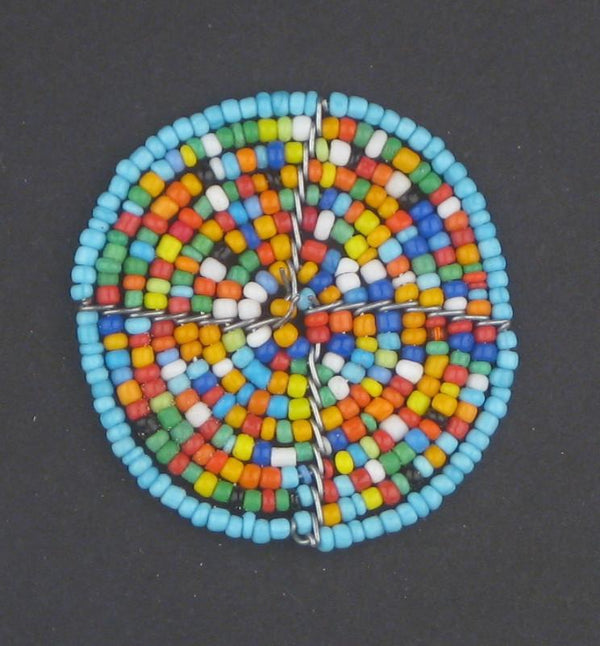 Blue Rainbow Sun Maasai Beaded Pendant - The Bead Chest
