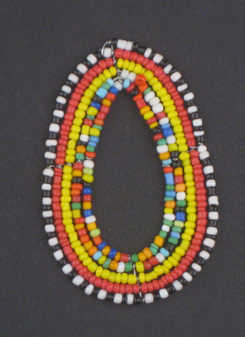 Image of Small Rainbow Oval Maasai Beaded Pendant - The Bead Chest