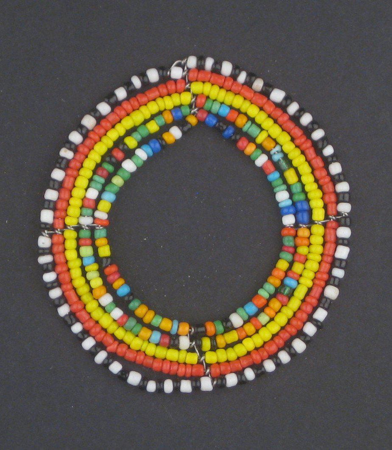 Hot Deal: Small Rainbow Ring Maasai Beaded Pendant - The Bead Chest
