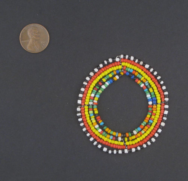 Small Rainbow Ring Maasai Beaded Pendant