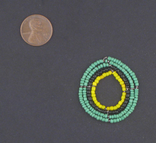 Green Annular Maasai Beaded Pendant