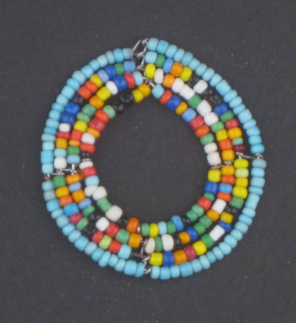Blue Rainbow Annular Maasai Beaded Pendant - The Bead Chest