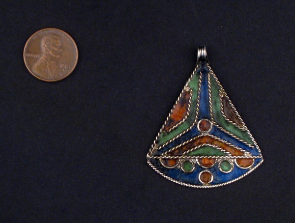 Triangle Sail Enameled Berber Pendant