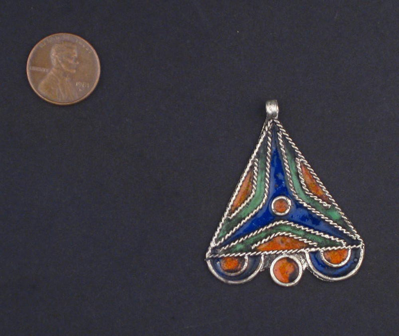 Triangle Enameled Berber Pendant - The Bead Chest