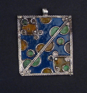 Blue Rectangular Enameled Berber Pendant - The Bead Chest