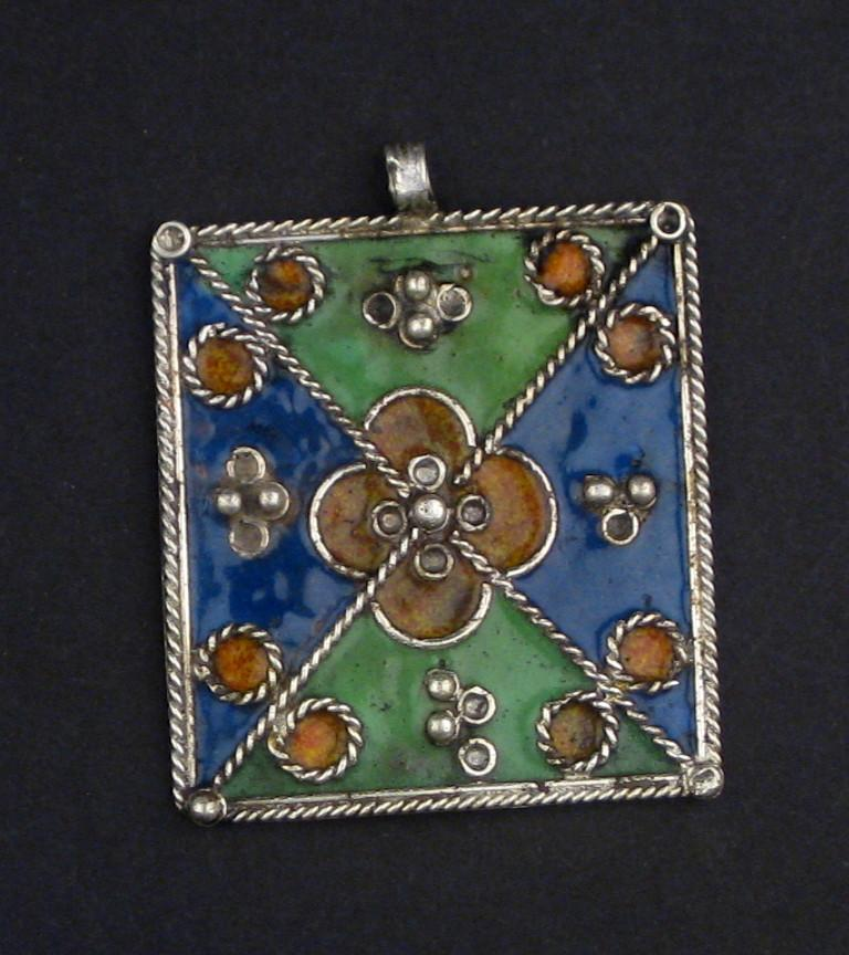 Multicolor Rectangular Enameled Berber Pendant - The Bead Chest