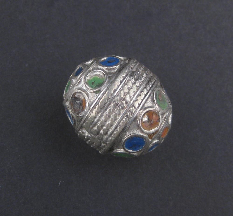 Multicolor Enamel Berber Bead (Set of 2) - The Bead Chest