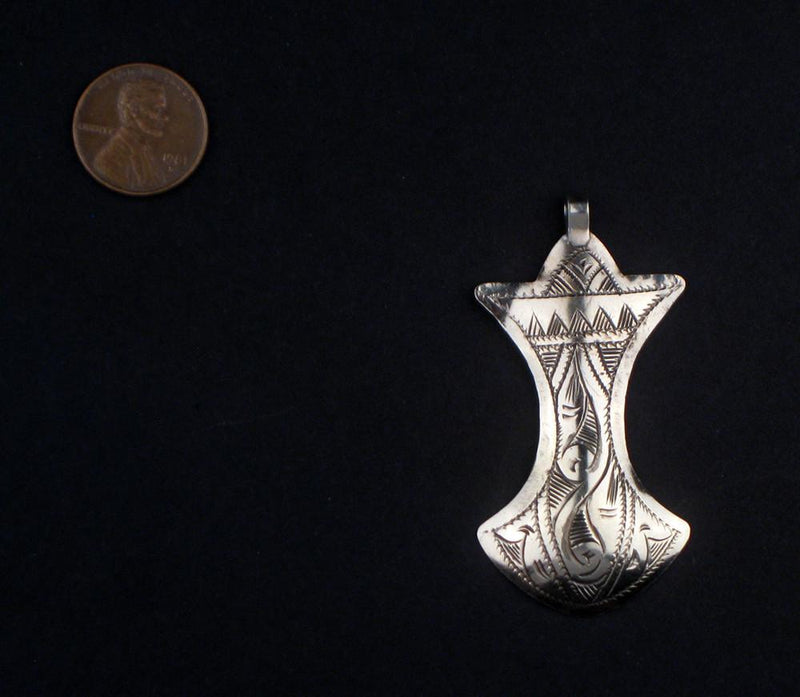 Pendulum-Shaped Engraved Moroccan Pendant - The Bead Chest
