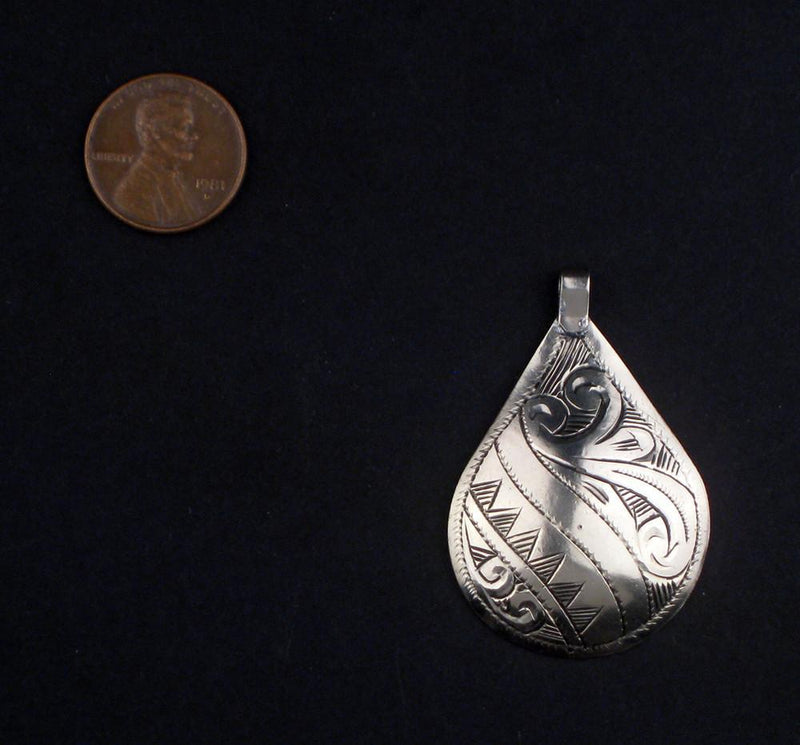 Engraved Silver Moroccan Pendant (56 x 33mm) - The Bead Chest