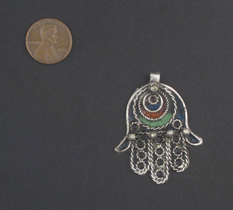 Multicolor Moroccan Eye Hamsa Pendant - The Bead Chest