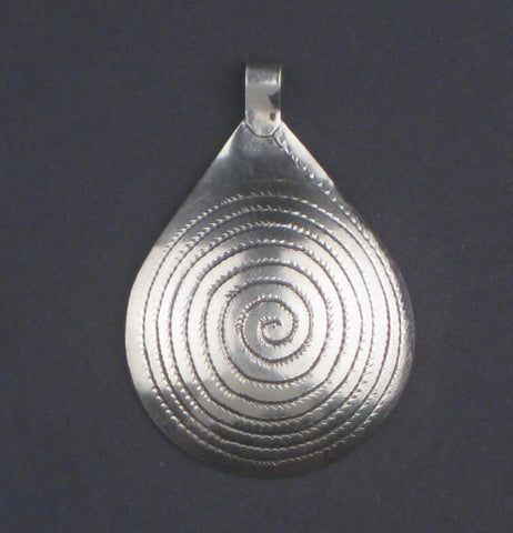 Niello Engraved Moroccan Pendant (48x32mm) - The Bead Chest
