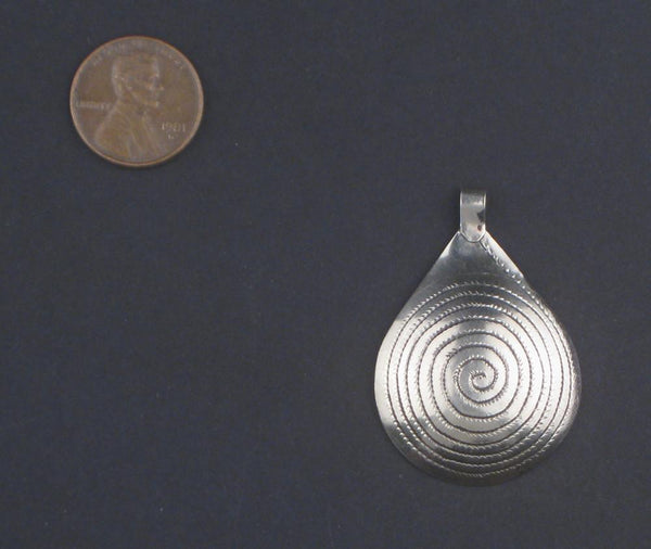 Niello Engraved Moroccan Pendant (40x23mm)