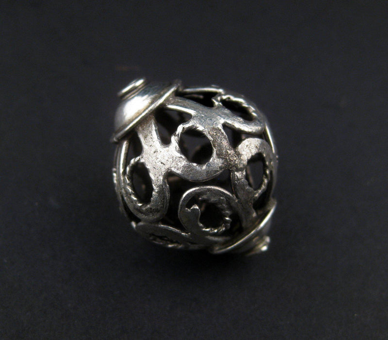Moroccan Silver Filigree Bead (27x22mm) - The Bead Chest