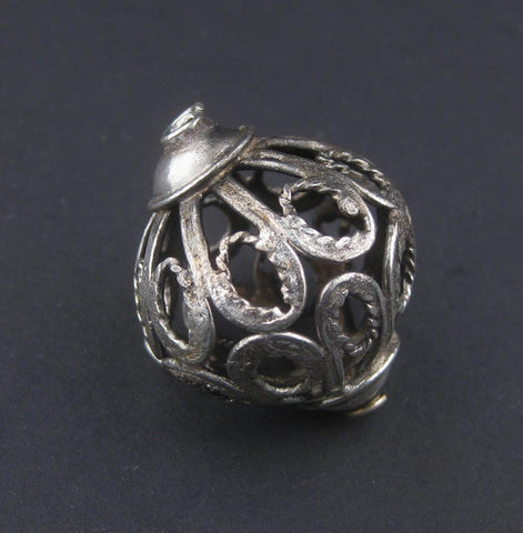 Moroccan Silver Filigree Bead (31x24mm) - The Bead Chest