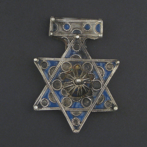 Rare Jewish Berber Enamel Pendant (85x60mm) - The Bead Chest