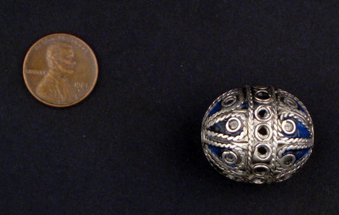 Artisanal Fancy Blue Silver Berber Bead (Set of 2) - The Bead Chest