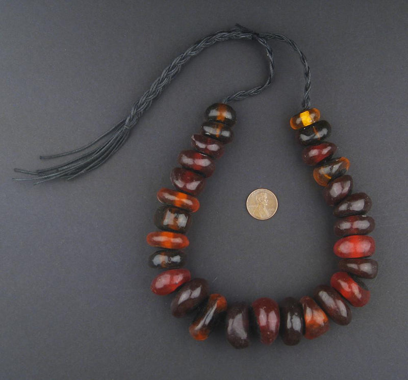 Moroccan Translucent Cherry Amber Resin Beads (Graduated) - The Bead Chest