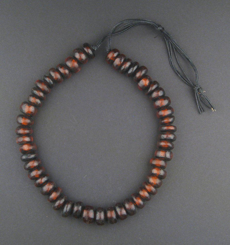 Moroccan Rondelle Burgundy Resin Beads - The Bead Chest