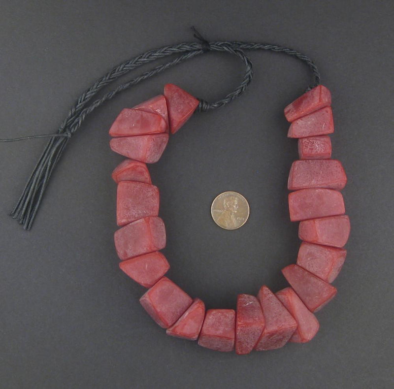 Vintage Red Moroccan Resin Chunk Beads - The Bead Chest
