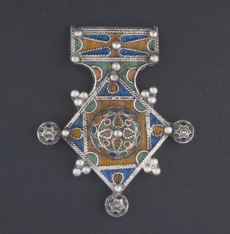 Multicolor Enamel Berber Cross Pendant - The Bead Chest