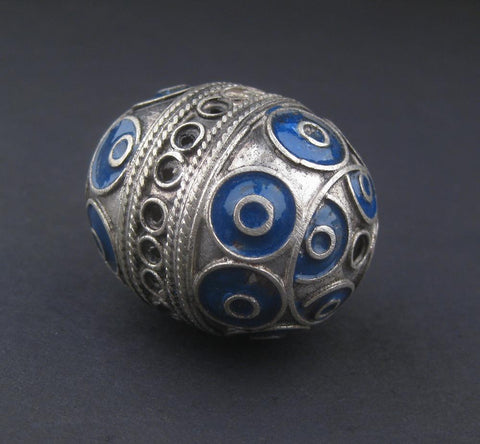Blue Artisanal Enamel-Inlaid Berber Bead Pendant - The Bead Chest