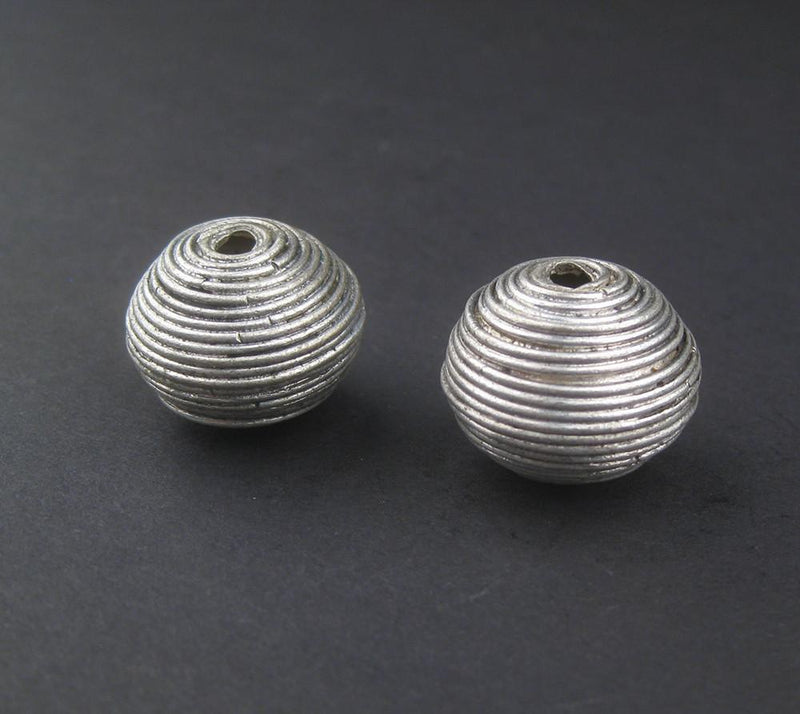 Artisanal Berber Silver Spiral Beads (20x22mm) (Set of 2) - The Bead Chest