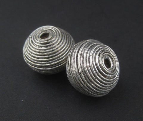 Image of Artisanal Berber Silver Spiral Beads (20x22mm) (Set of 2) - The Bead Chest