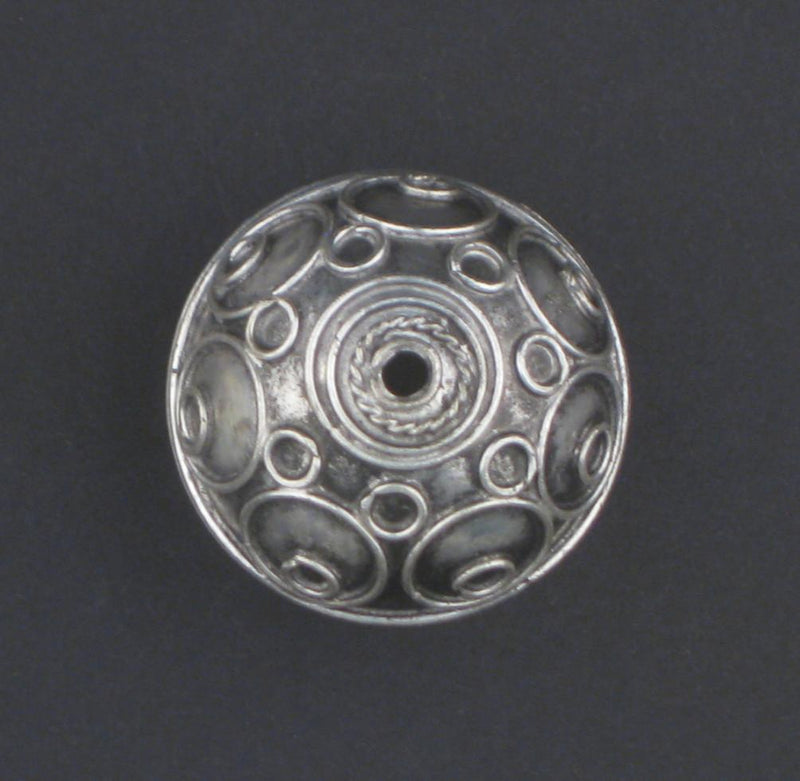 Artisanal Fancy Moroccan Silver Bead (27x32mm) - The Bead Chest